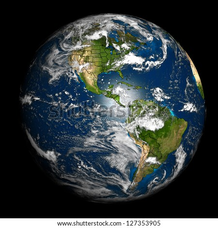 The Earth with accurate country boundaries. Elements of this image furnished by NASA. Other orientations available. - stock photo