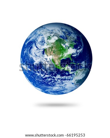The earth with shadow over white background. Illustration - stock photo