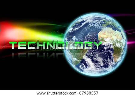 The earth with technology word on abstract background - stock photo