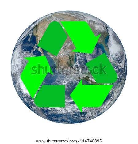 """The Earth with the international recycle symbol superimposed on it isolated on white. """"Elements of this image furnished by NASA"""" - stock photo"""