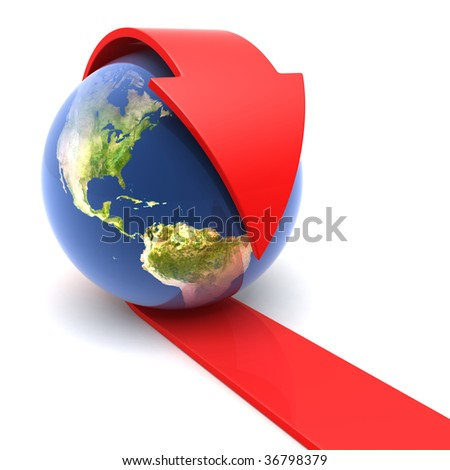 The Earth with the red arrow - stock photo