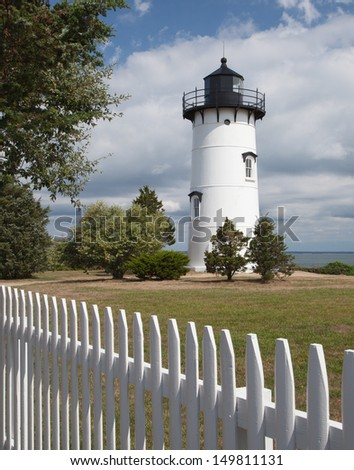 The East Chop Lighthouse in Oak Bluffs, Martha's Vineyard - stock photo