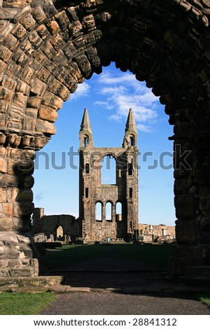 The east gable of the cathedral ruins in St Andrews, Scotland. - stock photo