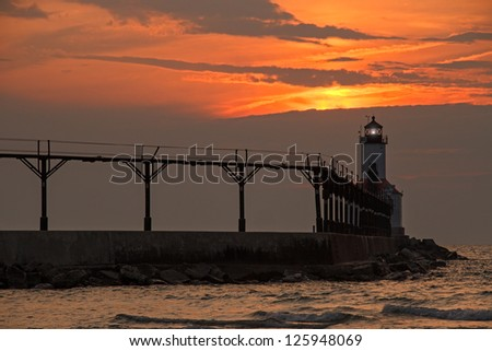 The East Pierhead Lighthouse at Michigan City, Indiana near Sunset - stock photo