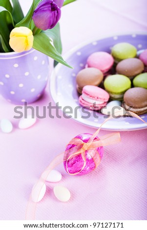 the easter installation with macarons