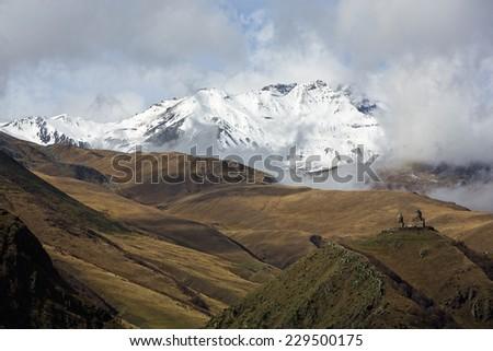 The Eastern Caucasus, Kazbegi in Georgia - stock photo