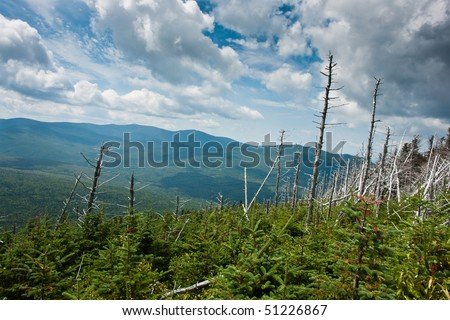 The eastern side of the Pemigewasset Wilderness Area in horizontal view - stock photo
