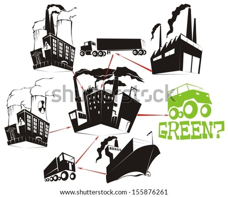 The Eco Equation 1 - a question raised about how green the manufacturing process of environmental-friendly products actually is (transport- & business-related raster cartoon illustration - stock photo