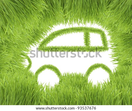 The ecological car from green grass isolated on a white background - stock photo