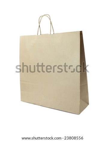 The ecological shopping bag on the white background - stock photo