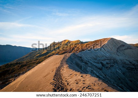 The edge of Bromo volcanic crater, Java, Indonesia - stock photo