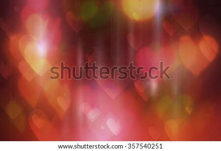 the effect of blur glowing multicolored lights in the form of heart - stock photo