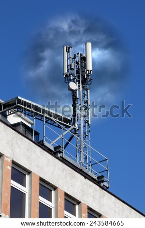 The effect of mobile phone radiation on human health - conceptual. - stock photo