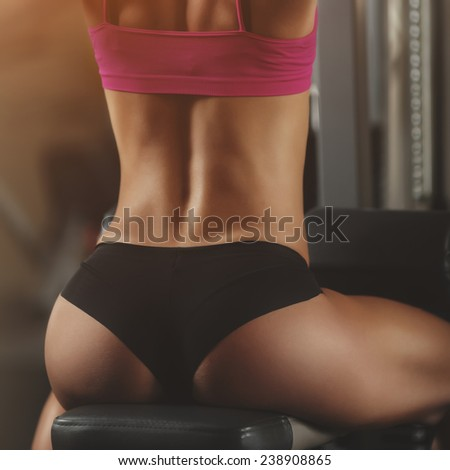 The effect of oil paints. Perfect woman sexy buttocks in lingerie. Clean healthy skin.  Part of body. Healthy lifestyle, diet and fitness - stock photo