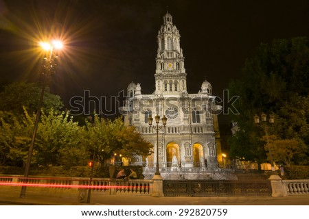 The Eglise de la Sainte-Trinite is a Roman Catholic church located in the 9th arrondissement of Paris, France. The church is a building of the Second Empire period, built between 1861 and 1867. - stock photo
