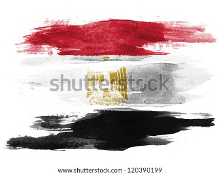The Egyptian flag painted on  white paper with watercolor - stock photo