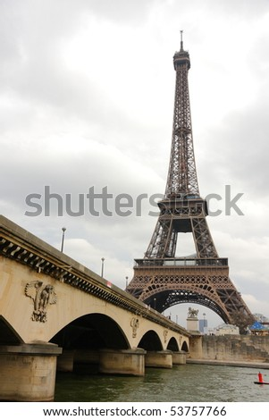 The Eiffel Tower and seine river in Paris, France.