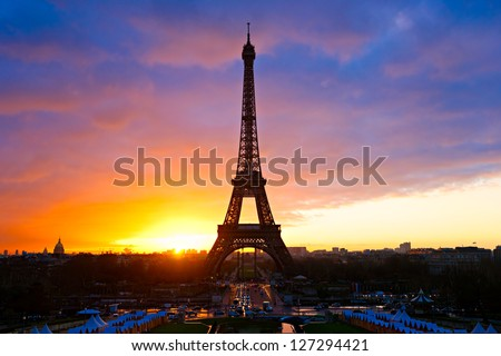 The Eiffel Tower at sunset, Paris, france. - stock photo