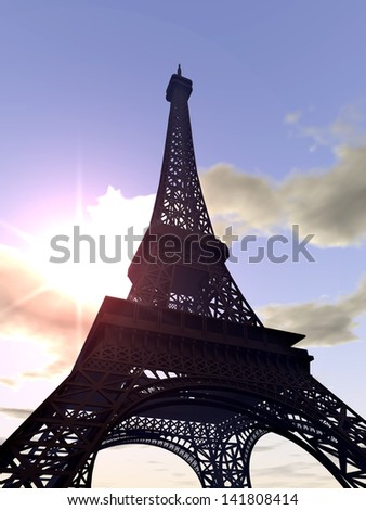 The Eiffel Tower  Computer generated 3D illustration