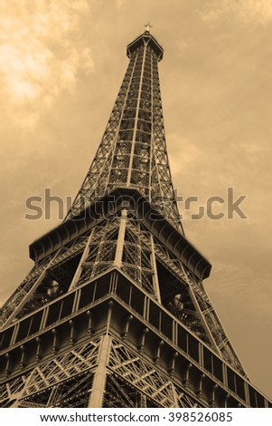 The Eiffel Tower from Paris with Sepia Toning