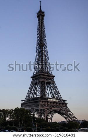 The Eiffel tower from the river Seine in Paris