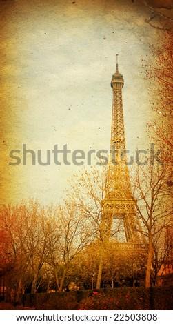 The Eiffel Tower in nightfall - paris France - stock photo