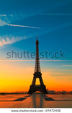 The Eiffel Tower in Paris at dawn - stock photo