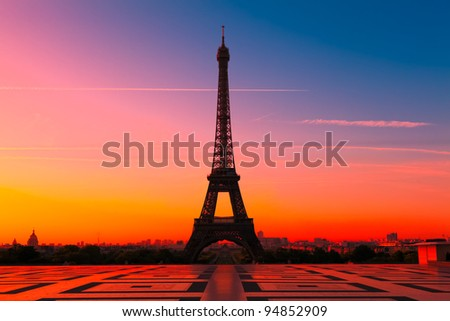 The Eiffel Tower in Paris at sunrise - stock photo