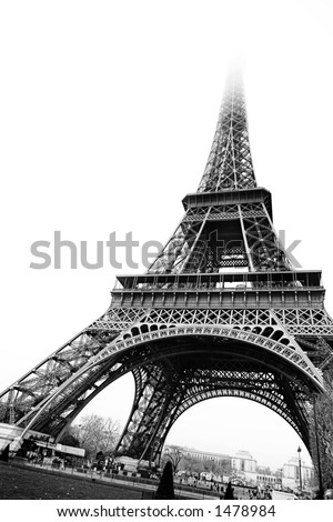 The Eiffel Tower in Paris, France. Black and white - copy space.