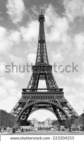 The Eiffel Tower in Paris, France. Black and white image