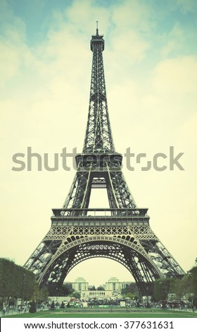 The Eiffel Tower in Paris. Instagram style filtred image - stock photo