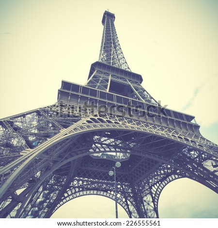 The Eiffel Tower in Paris. Instagram style toned image - stock photo