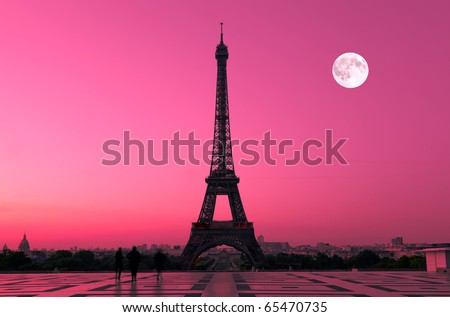 The Eiffel tower in Paris seen from the Trocadero - stock photo