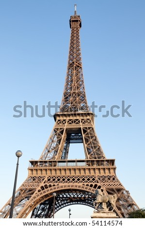 The Eiffel Tower in Paris. Tourist destination,  international landmark and national symbol. France, Europe