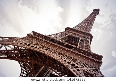 The Eiffel Tower in Paris  vintage - stock photo