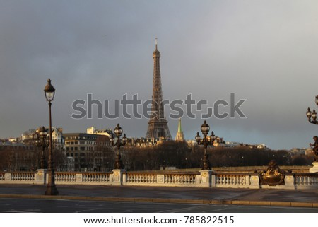 The Eiffel Tower in the background. Paris, France - 01/03/2018