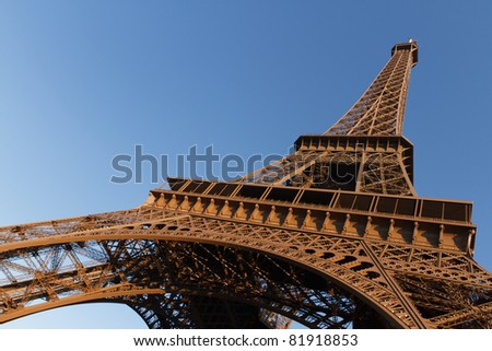 The Eiffel Tower in the late afternoon sun - stock photo
