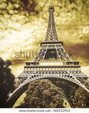 The Eiffel tower, one of the most favorite landmarks in the world Retro filtered. - stock photo