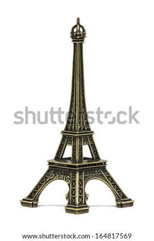 The Eiffel tower souvenir, on a white background - stock photo