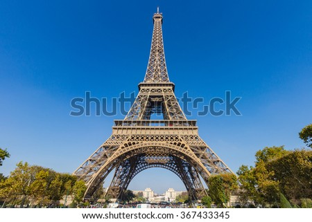 The Eiffel Tower with Clear Blue Sky in Summer, Paris, France