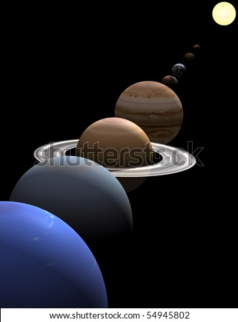 The eight planets in the solar system in alignment around the sun on black background - stock photo