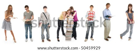 The eight young students isolated on a white background - stock photo