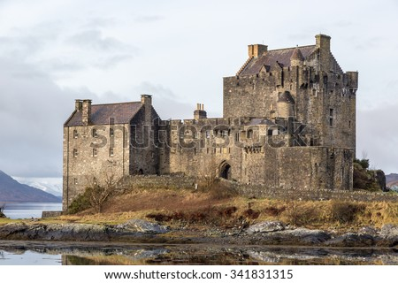 The Eileen Donan castle in the Scotland Highlands during the winter time. UK