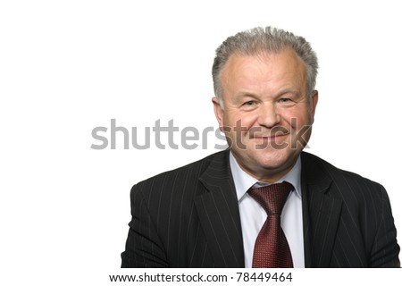 The elderly man. It is isolated on a white background - stock photo