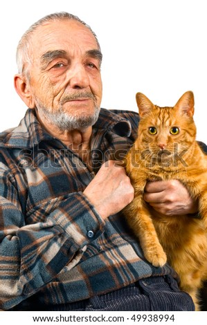 The elderly man with a cat - stock photo