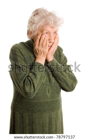 The elderly woman isolated on white - stock photo