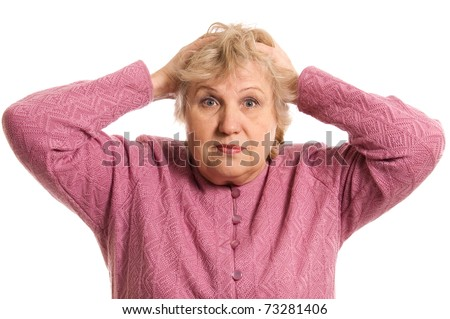 The elderly woman keeps for a head - stock photo
