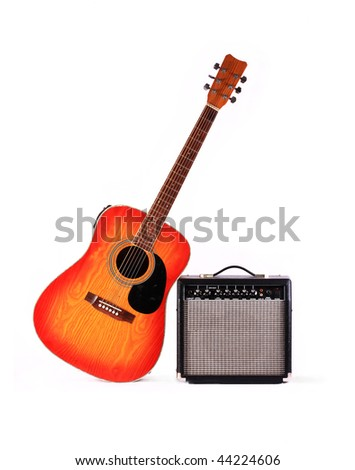 The electric amplifier of a signal, allows to use a classical guitar in structure fate of group - stock photo