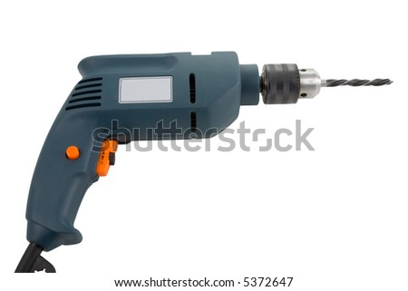the electric drill on white background with clipping path