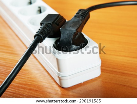 The electric extension piece with wires - stock photo